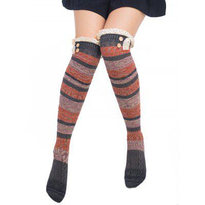 Pair of Button Decorated Lace Edge Knee Highs Socks