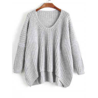 Buy GRAY Oversized V Neck Chunky Sweater for $31.63 in GearBest store