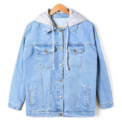 Buy DENIM BLUE L Flap Pockets Faded Hooded Denim Jacket for $38.88 in GearBest store