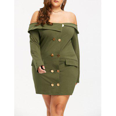 Plus Size Off The Shoulder Double Breasted Dress