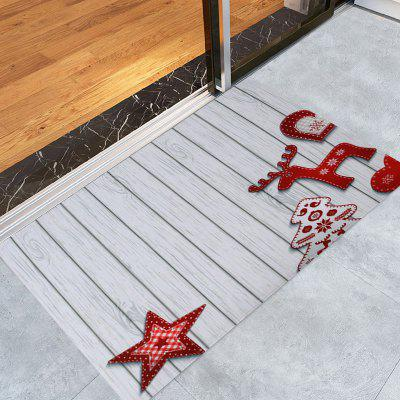 Christmas Star Wood Pattern Water Absorption Area Rug