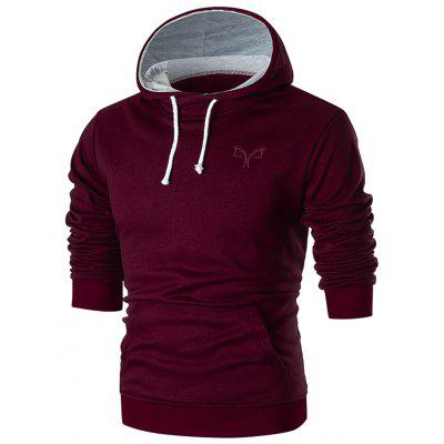 Chest Embroidery Casual Pullover Hoodie