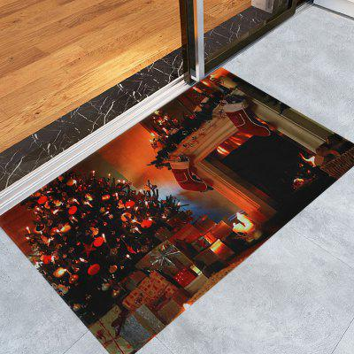 Christmas Tree Fireplace Pattern Water Absorption Area Rug