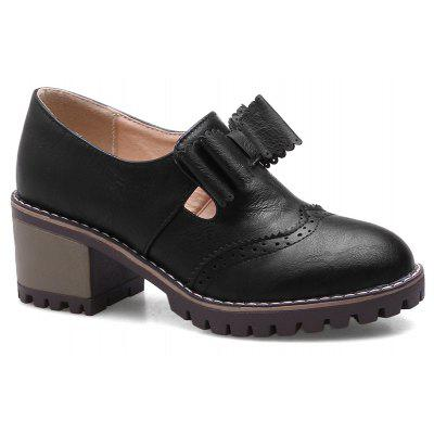 Buy BLACK 42 Stacked Heel Scalloped Bowknot Ankle Boots for $41.28 in GearBest store