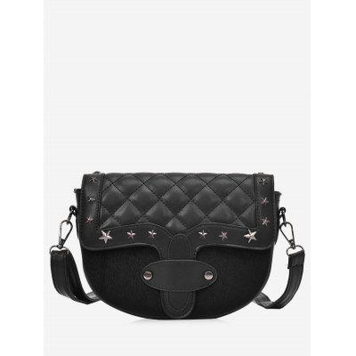 Metal Stars Rivets Quilted Crossbody Bag 263 Online Shopping