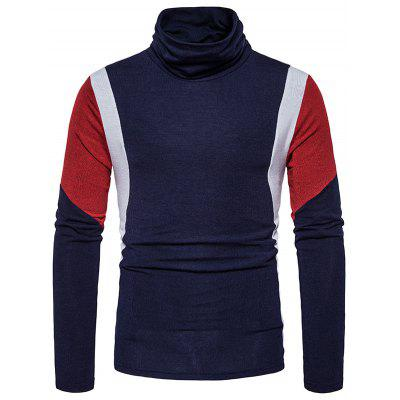 Turtle Neck Slim Fit Color Block Panel Knitted Sweater