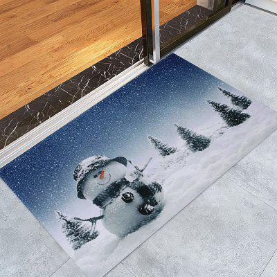Christmas Snowy Snowman Pattern Water Absorption Area Rug