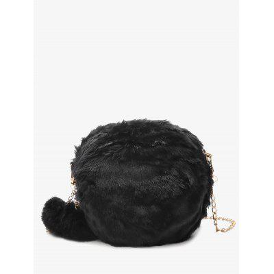 Buy BLACK Faux Fur Chain Pompom Crossbody Bag for $16.85 in GearBest store