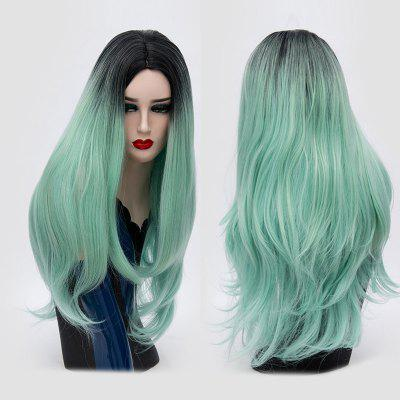 Buy MINT Long Center Parting Slightly Curly Ombre Synthetic Party Wig for $18.22 in GearBest store