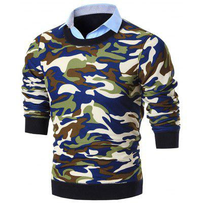 Fake Two Piece Knit Camo Sweater