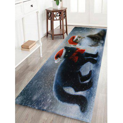 Christmas Cats Pattern Water Absorption Area Rug