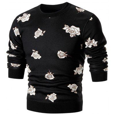 Rose Print Pullover Crew Neck Sweater