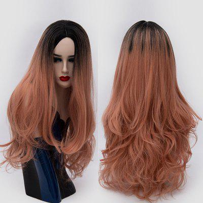 Long Center Parting Slightly Curly Ombre Synthetic Party Wig