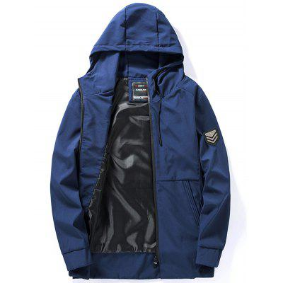 Graphic Print Zip Up Hooded Track Jacket