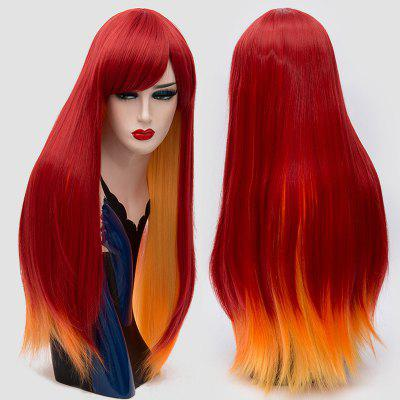Long Side Bang Straight Two Tone Synthetic Party Wig