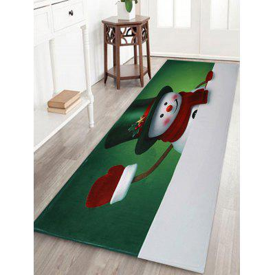 Christmas Hatted Snowman Pattern Water Absorption Area Rug