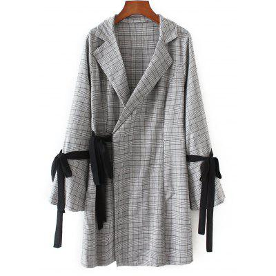 Checked Long Sleeve Wrap Dress