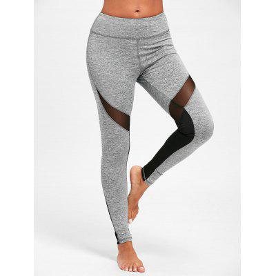 Buy GRAY S Mesh Insert High Waist Yoga Leggings for $19.19 in GearBest store