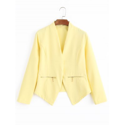 Zippered Pockets Open Front Cropped Jacket
