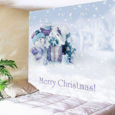 Buy WHITE Merry Christmas Snowman Print Wall Decor Tapestry for $20.64 in GearBest store