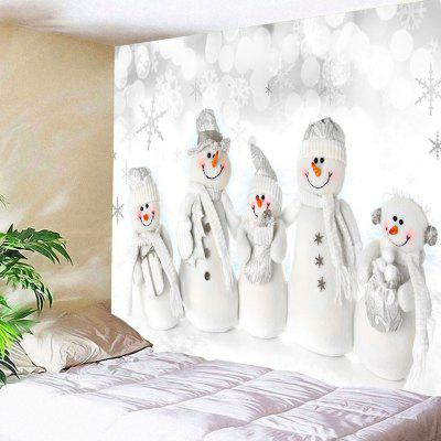 Buy WHITE Christmas Snowman Family Print Wall Hanging Tapestry for $20.64 in GearBest store