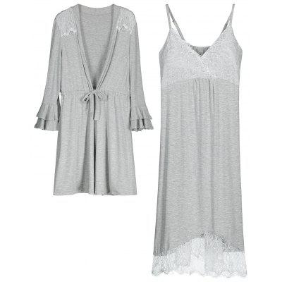 Buy GRAY M Cosy Loungewear Cami Dress with Kimono for $32.70 in GearBest store