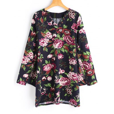 Floral Buttoned Long Sleeve Mini Dress
