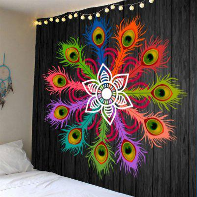 Colorful Peacock Feathers Pattern Waterproof Wall Hanging Tapestry