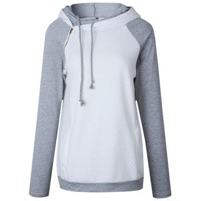 Raglan Sleeve Zippered Embellished Mock Neck Hoodie