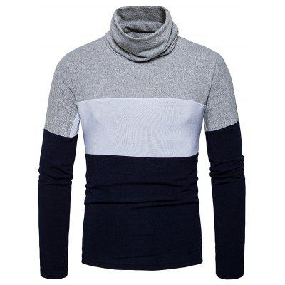Buy Turtle Neck Slim Fit Color Block Knitted Sweater, CADETBLUE, S, Apparel, Men's Clothing, Men's Sweaters & Cardigans for $28.17 in GearBest store