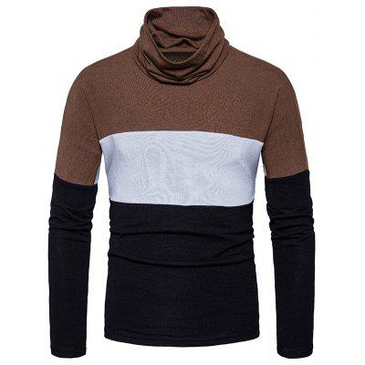 Buy Turtle Neck Slim Fit Color Block Knitted Sweater, BLACK, L, Apparel, Men's Clothing, Men's Sweaters & Cardigans for $28.17 in GearBest store