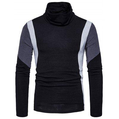 Buy Turtle Neck Slim Fit Color Block Panel Knitted Sweater, BLACK, M, Apparel, Men's Clothing, Men's Sweaters & Cardigans for $27.75 in GearBest store