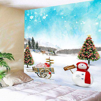 Buy CLOUDY Christmas Snowscape Tree Snowman Wall Tapestry for $18.28 in GearBest store