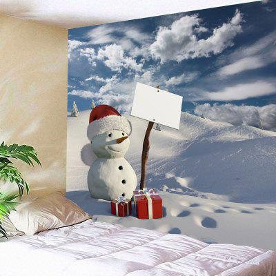 Buy COLORMIX Christmas Gift Snowman Snowscape Print Wall Art Tapestry for $18.28 in GearBest store