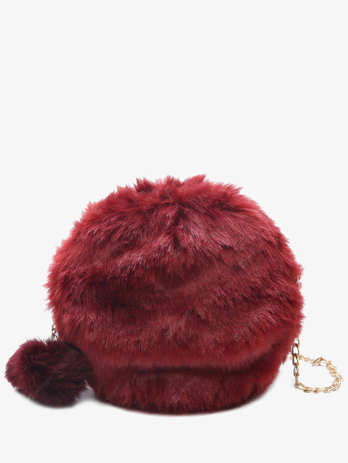 RED Faux Fur Chain Pompom Crossbody Bag