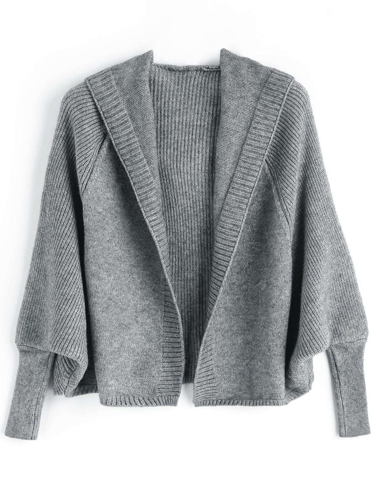 Open Front Hooded Plain Cardigan