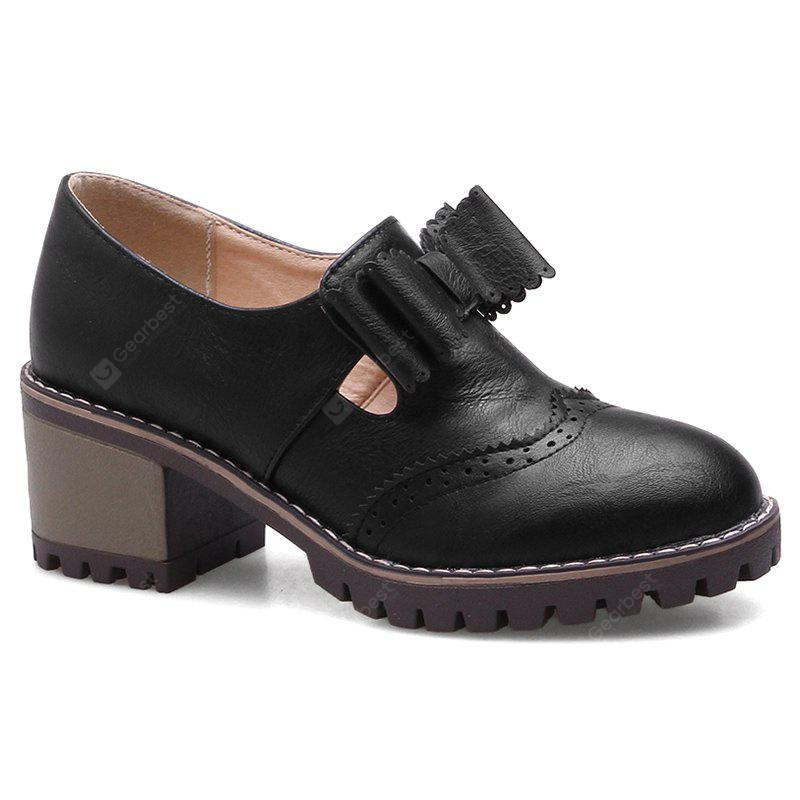 BLACK 36 Stacked Heel Scalloped Bowknot Ankle Boots