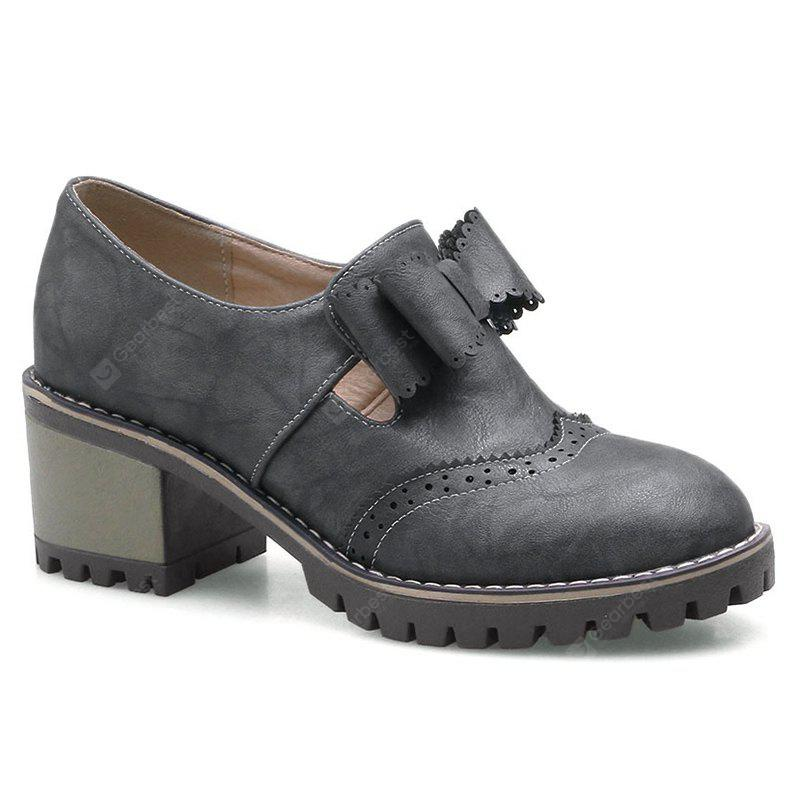 GRAY 40 Stacked Heel Scalloped Bowknot Ankle Boots