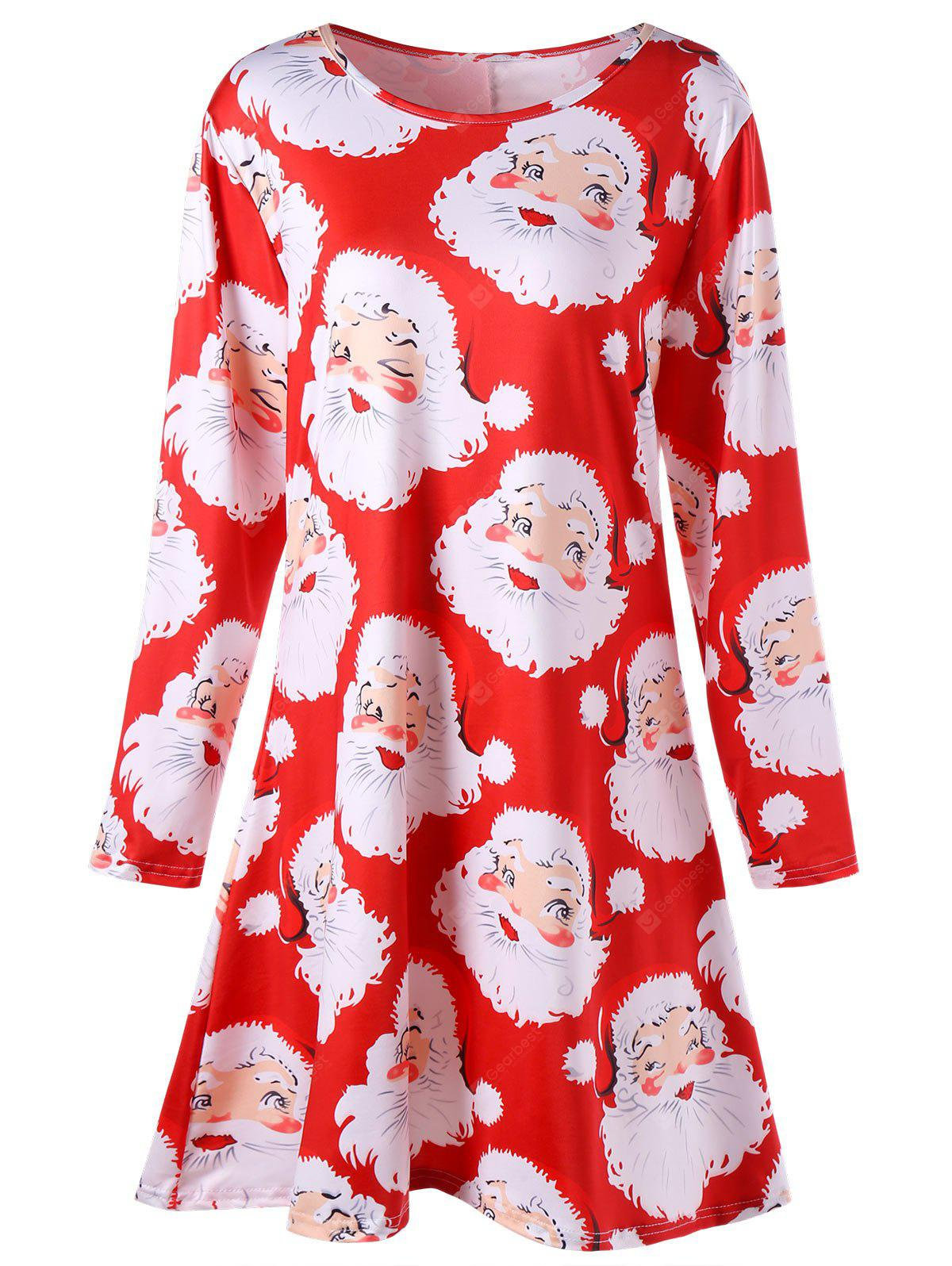 Plus Size Santa Claus Print Mini Swing Dress