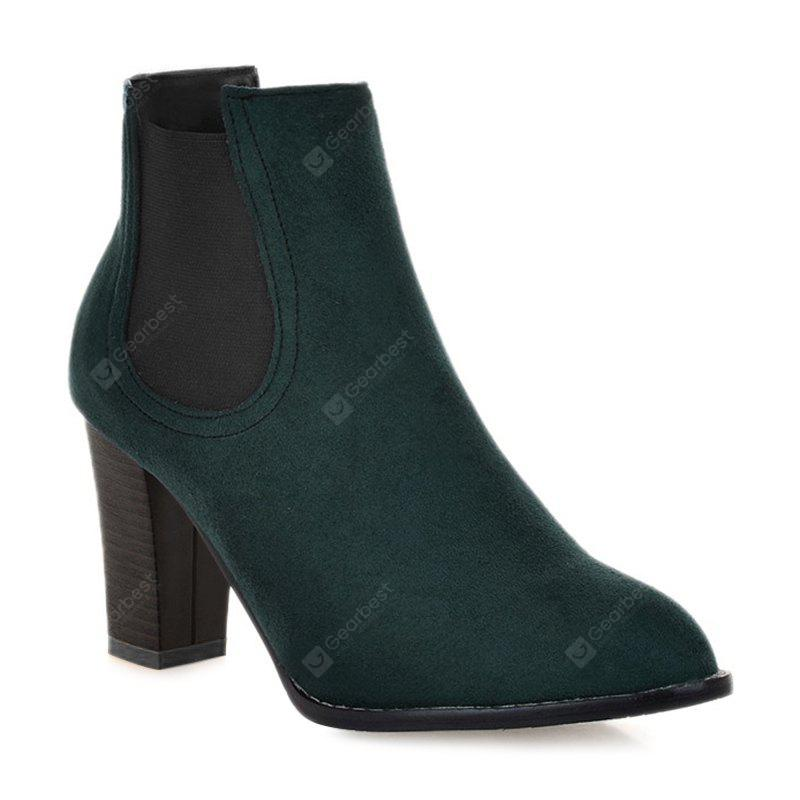 GREEN 39 Elasticized Side Panels Pointed Toe Boots