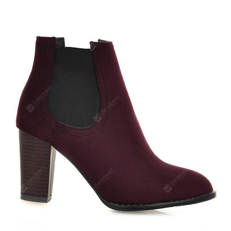 WINE RED 39 Elasticized Side Panels Pointed Toe Boots