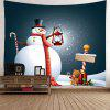 Christmas Snowman Light Pattern Waterproof Wall Hanging Tapestry - GREY AND WHITE