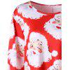 Plus Size Santa Claus Print Mini Swing Dress - RED