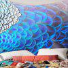 Peacock Feathers Pattern Waterproof Wall Hanging Tapestry - BLUE