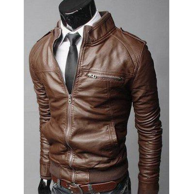 Zip Up Faux Leather Mens Biker JacketMens Jackets &amp; Coats<br>Zip Up Faux Leather Mens Biker Jacket<br><br>Clothes Type: Jackets<br>Collar: Stand Collar<br>Material: Faux Leather, Viscose<br>Package Contents: 1 x Jacket<br>Season: Fall<br>Shirt Length: Regular<br>Sleeve Length: Long Sleeves<br>Style: Casual<br>Weight: 0.8200kg