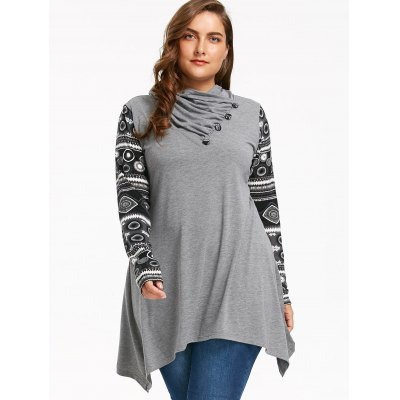 Heaps Collar Long Sleeve Plus Size Sharkbite T-shirtPlus Size Tops<br>Heaps Collar Long Sleeve Plus Size Sharkbite T-shirt<br><br>Collar: Heaps Collar<br>Elasticity: Elastic<br>Embellishment: Button,Panel<br>Material: Polyester, Spandex<br>Package Contents: 1 x T-shirt<br>Pattern Type: Print<br>Season: Fall, Winter, Spring<br>Shirt Length: Regular<br>Sleeve Length: Full<br>Style: Casual<br>Weight: 0.4200kg