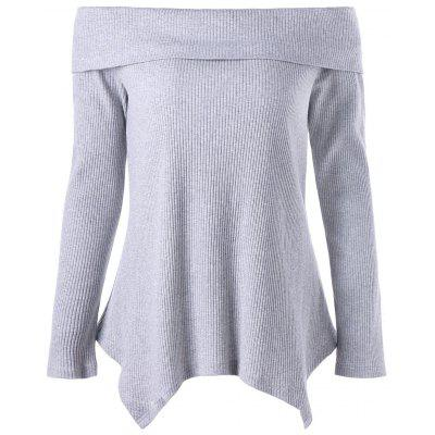 Buy GRAY M Off Shoulder Long Sleeve Irregular Knitwear for $21.27 in GearBest store