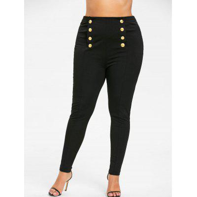 Buy BLACK 4XL Plus Size Double Breasted Skinny Pants for $19.19 in GearBest store
