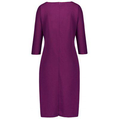 Plus Size Fitted Dress with PocketsPlus Size Dresses<br>Plus Size Fitted Dress with Pockets<br><br>Dresses Length: Mid-Calf<br>Embellishment: Chains,Front Pocket,Hole<br>Material: Polyester<br>Neckline: Round Collar<br>Package Contents: 1 x Dress<br>Pattern Type: Solid Color<br>Season: Fall, Winter<br>Silhouette: Sheath<br>Sleeve Length: 3/4 Length Sleeves<br>Style: Casual<br>Weight: 0.5700kg<br>With Belt: No