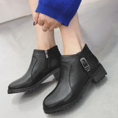 Block Heel Buckle Strap Ankle BootsWomens Boots<br>Block Heel Buckle Strap Ankle Boots<br><br>Boot Height: Ankle<br>Boot Type: Fashion Boots<br>Closure Type: Slip-On<br>Embellishment: Buckle<br>Gender: For Women<br>Heel Height: 3-5CM<br>Heel Height Range: Low(0.75-1.5)<br>Heel Type: Chunky Heel<br>Package Contents: 1 x Boots (pair)<br>Pattern Type: Solid<br>Season: Spring/Fall<br>Shoe Width: Medium(B/M)<br>Toe Shape: Round Toe<br>Upper Material: PU<br>Weight: 1.1200kg